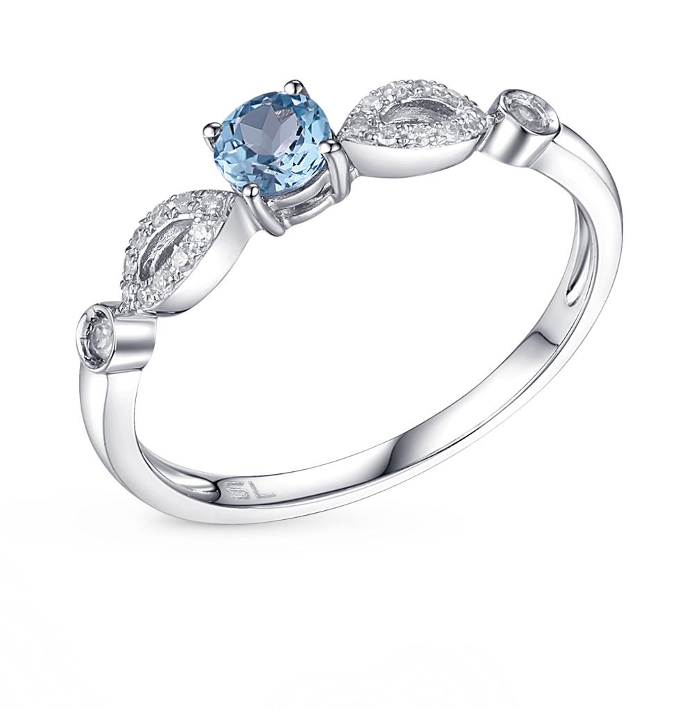 золотое кольцо с бриллиантами, сапфирами и топазами SUNLIGHT