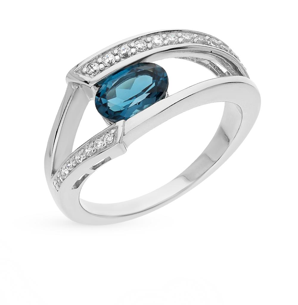 Фото «серебряное кольцо с бриллиантами, гранатами, топазами и фианитами»