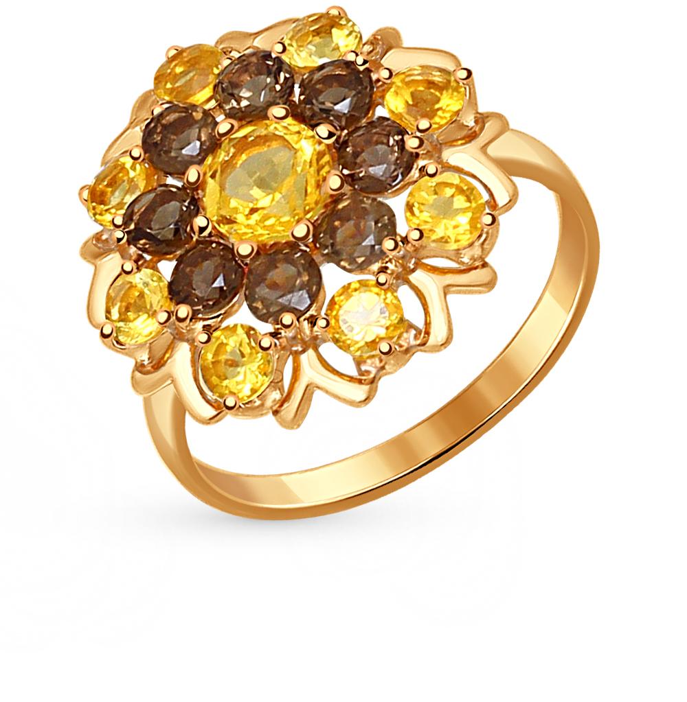 Фото «серебряное кольцо с цитринами и раухтопазами (кварцами дымчатый)»