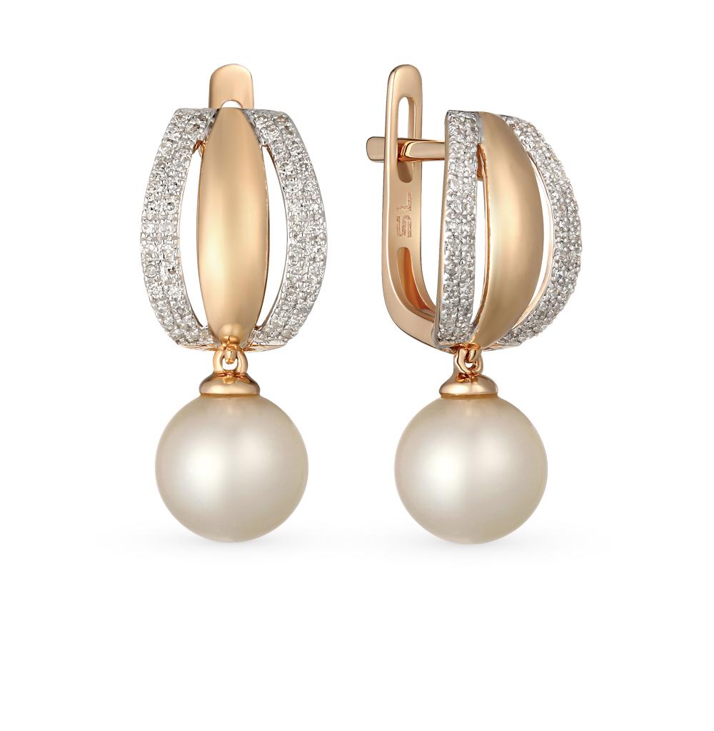 Фото «золотые серьги с бриллиантами и жемчугами культивированными»