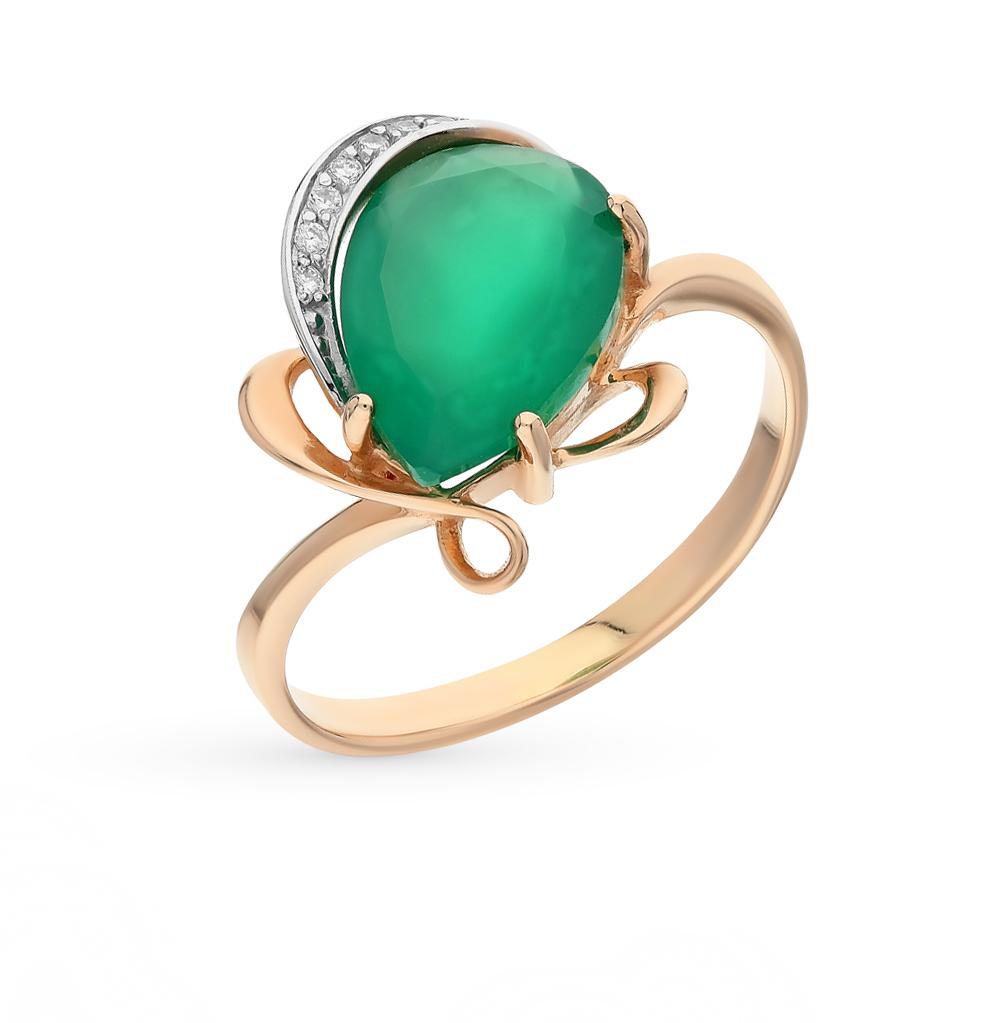 Фото «золотое кольцо с фианитами и хризопразами»