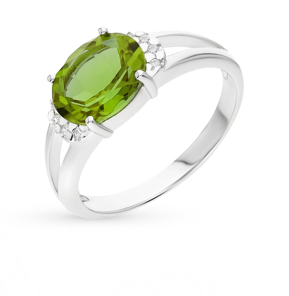 Фото «серебряное кольцо с султанитами синтетическими и фианитами»