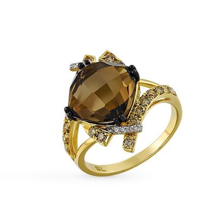 Фото «золотое кольцо с коньячными и белыми бриллиантами и кварцами»