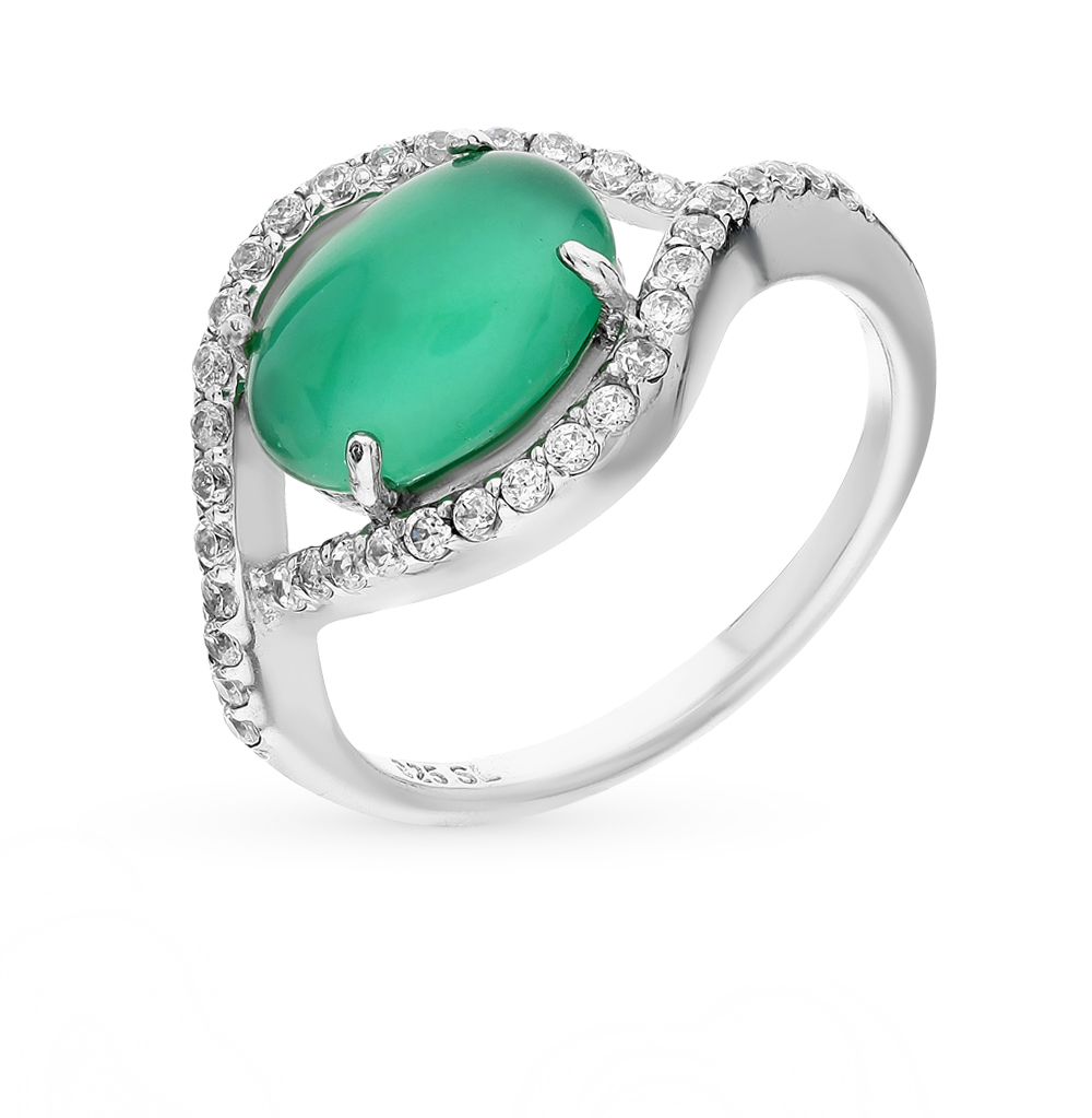 Фото «серебряное кольцо с лунными камнями и фианитами»