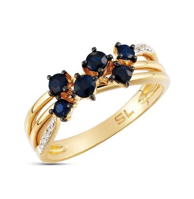 Фото «золотое кольцо с бриллиантами, аметистами, кварцами, топазами и сапфирами»