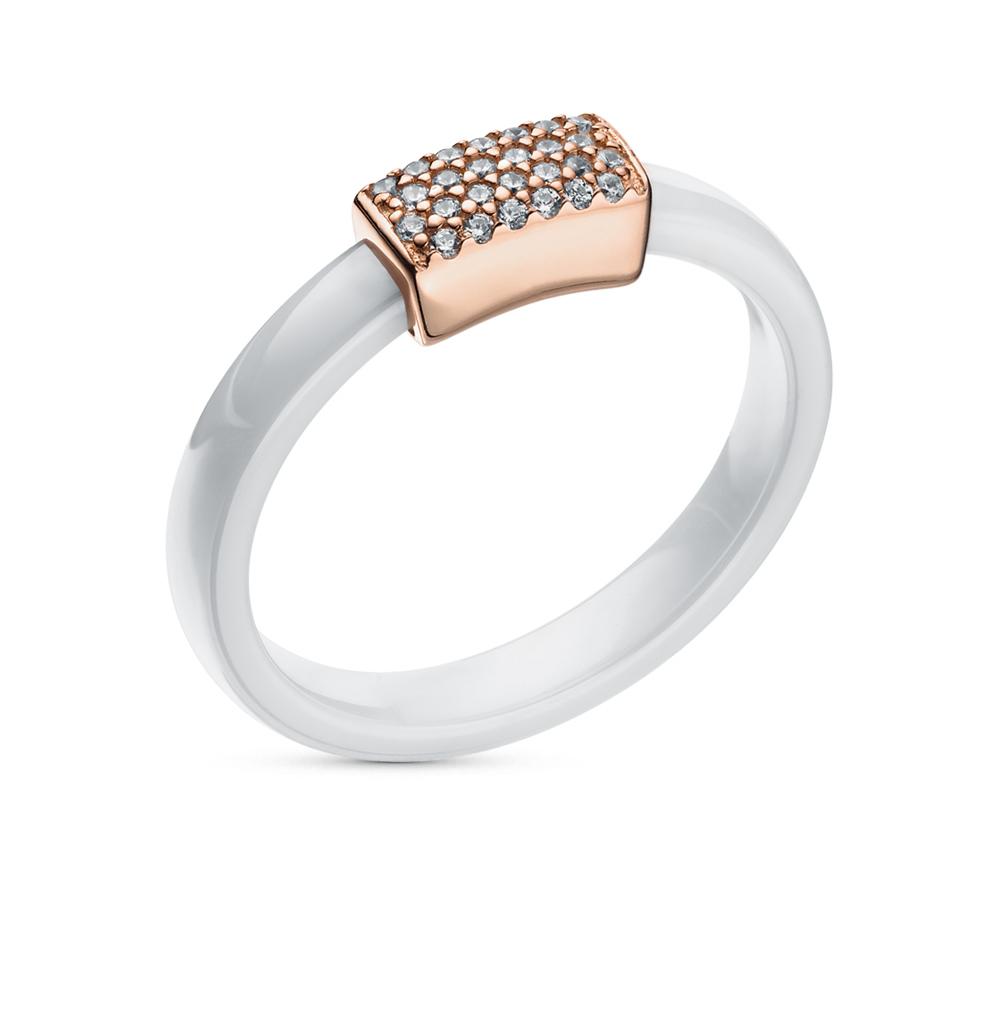 Фото «керамическое кольцо с фианитами и серебро»