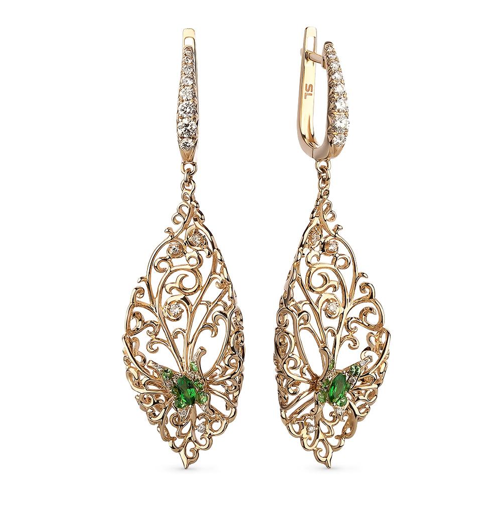 Фото «золотые серьги с бриллиантами и цаворитами»