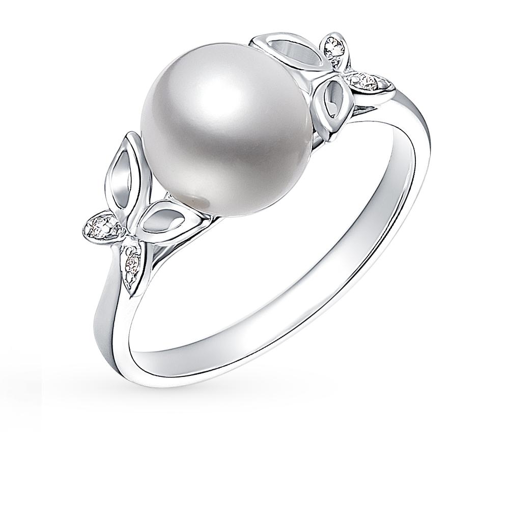 Фото «золотое кольцо с бриллиантами, фианитами, сапфирами и жемчугом»