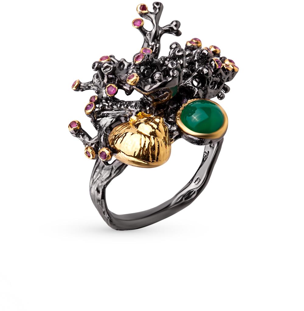 Фото «серебряное кольцо с агатами и рубинами»
