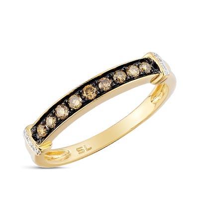 Фото «золотое кольцо с бриллиантами, топазами синтетическими и фианитами»