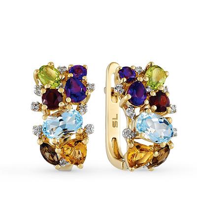 Фото «золотые серьги с бриллиантами, аметистами, гранатами, цитринами, топазами, раухтопазами (кварцами дымчатый) и хризолитами»
