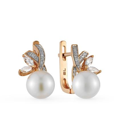 Фото «золотые серьги с топазами, жемчугом и бриллиантами»