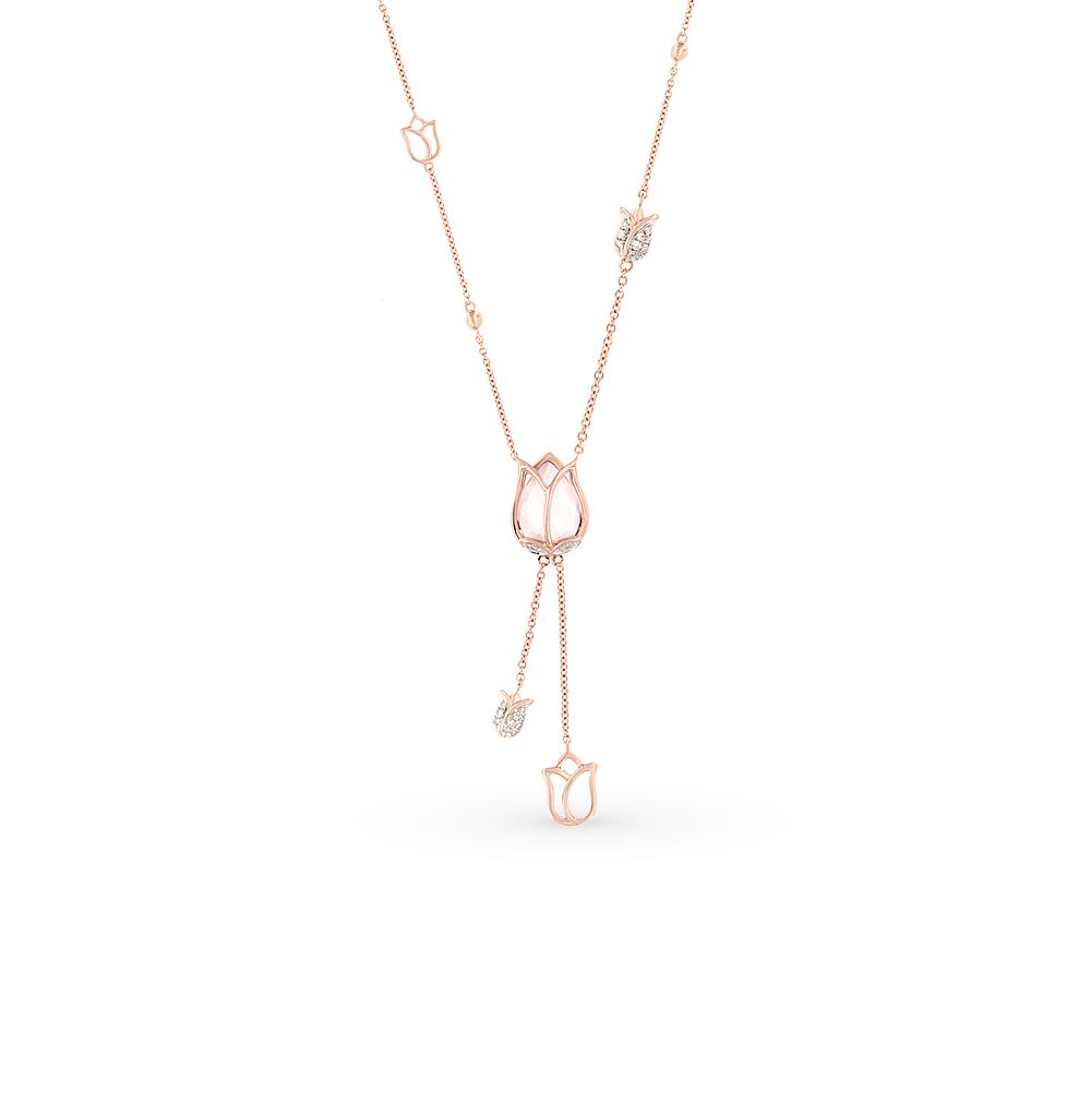 золотое шейное украшение с кварцем и бриллиантами SUNLIGHT