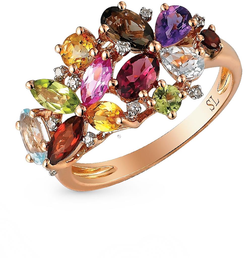 золото кольцо с аметистом, гранатом, топазами, сапфирами, хризолитом и раухтопазами (кварцами дымчатый) SUNLIGHT