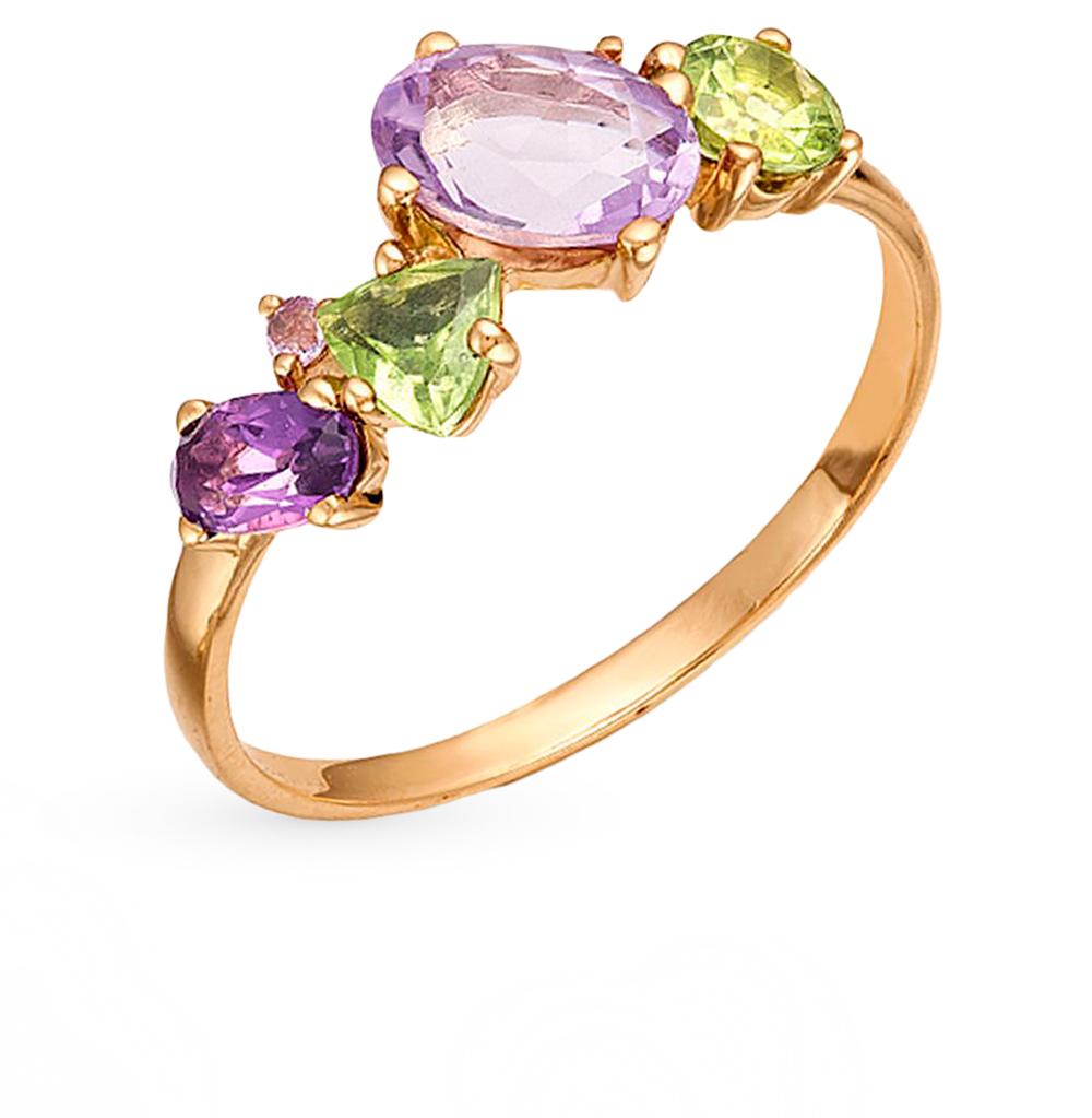 Фото «золотое кольцо с аметистами и хризолитами»