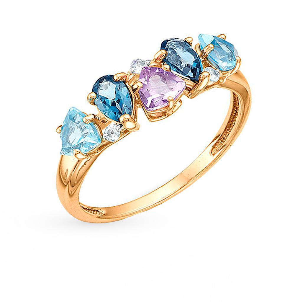 золотое кольцо с корундами и аметистами SUNLIGHT