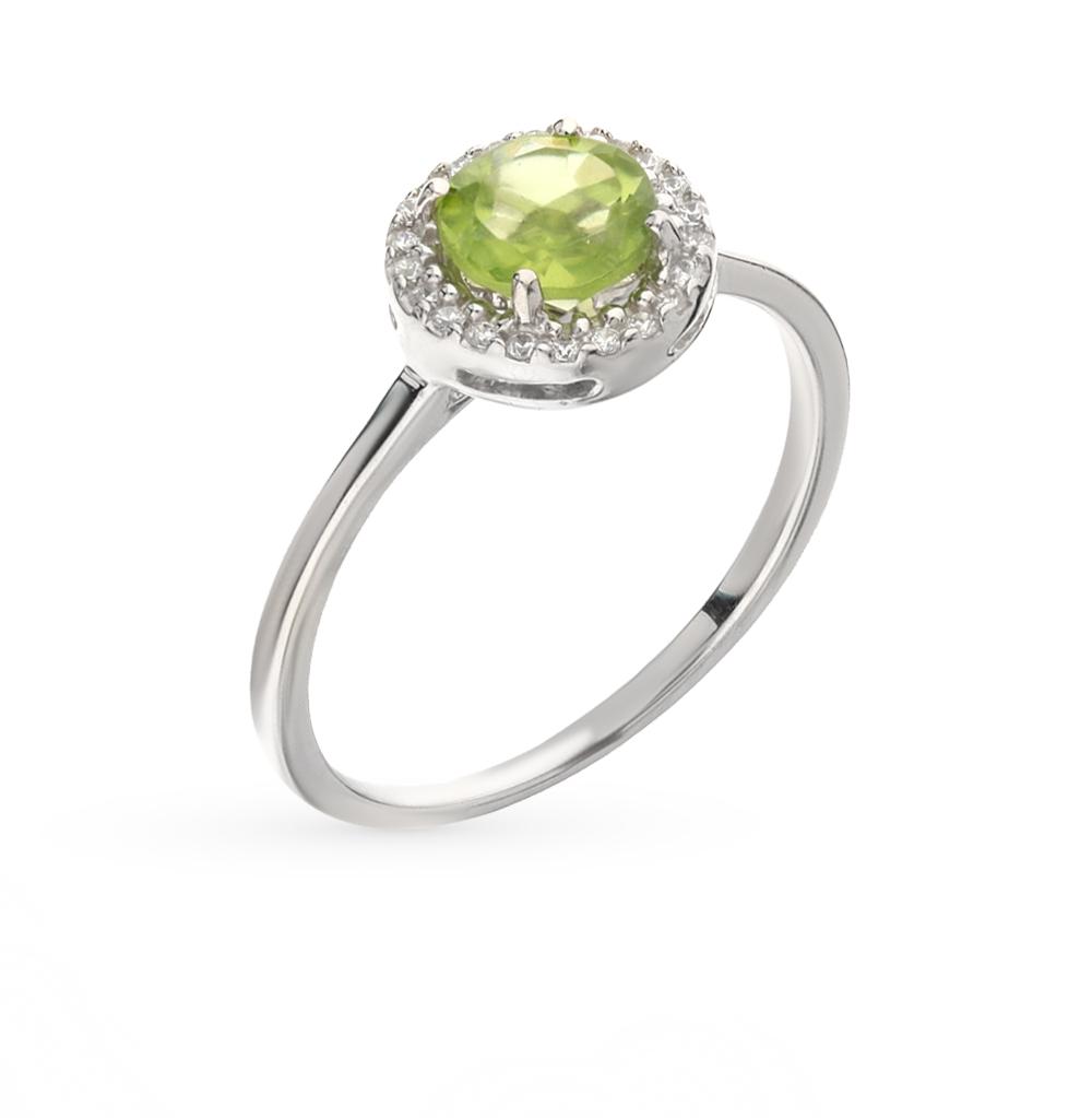 Фото «серебряное кольцо с фианитами и хризолитами»