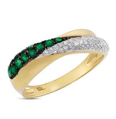 Фото «золотое кольцо с бриллиантами, фианитами, эмалью и изумрудами»