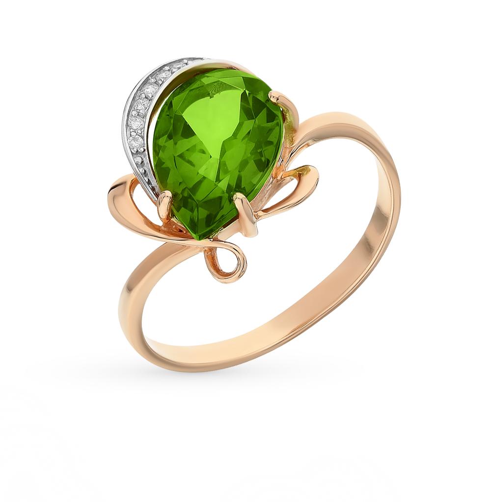 Фото «золотое кольцо с фианитами и султанитами»