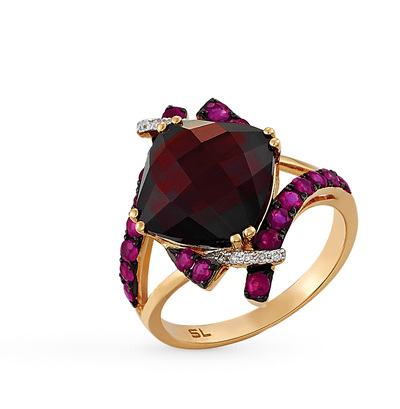 Фото «золотое кольцо с бриллиантами, гранатами и рубинами»