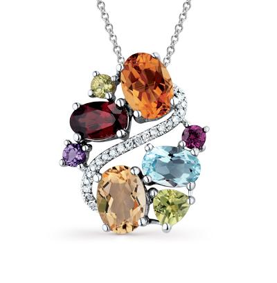 золотая подвеска с бриллиантами, аметистами, гранатами, топазами, цитринами и хризолитами SUNLIGHT