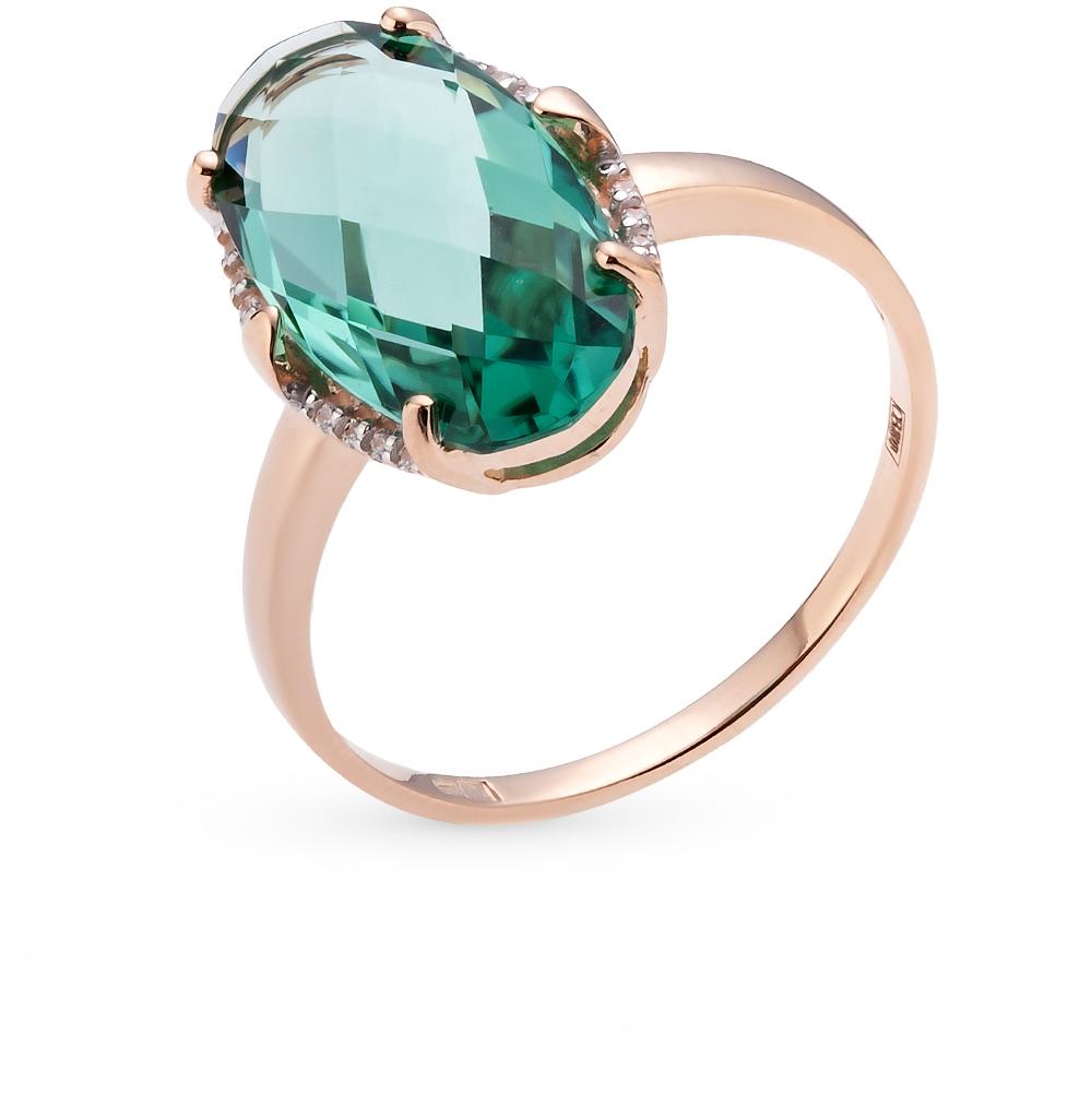 Фото «золотое кольцо с бриллиантами, кварцами и фианитами»
