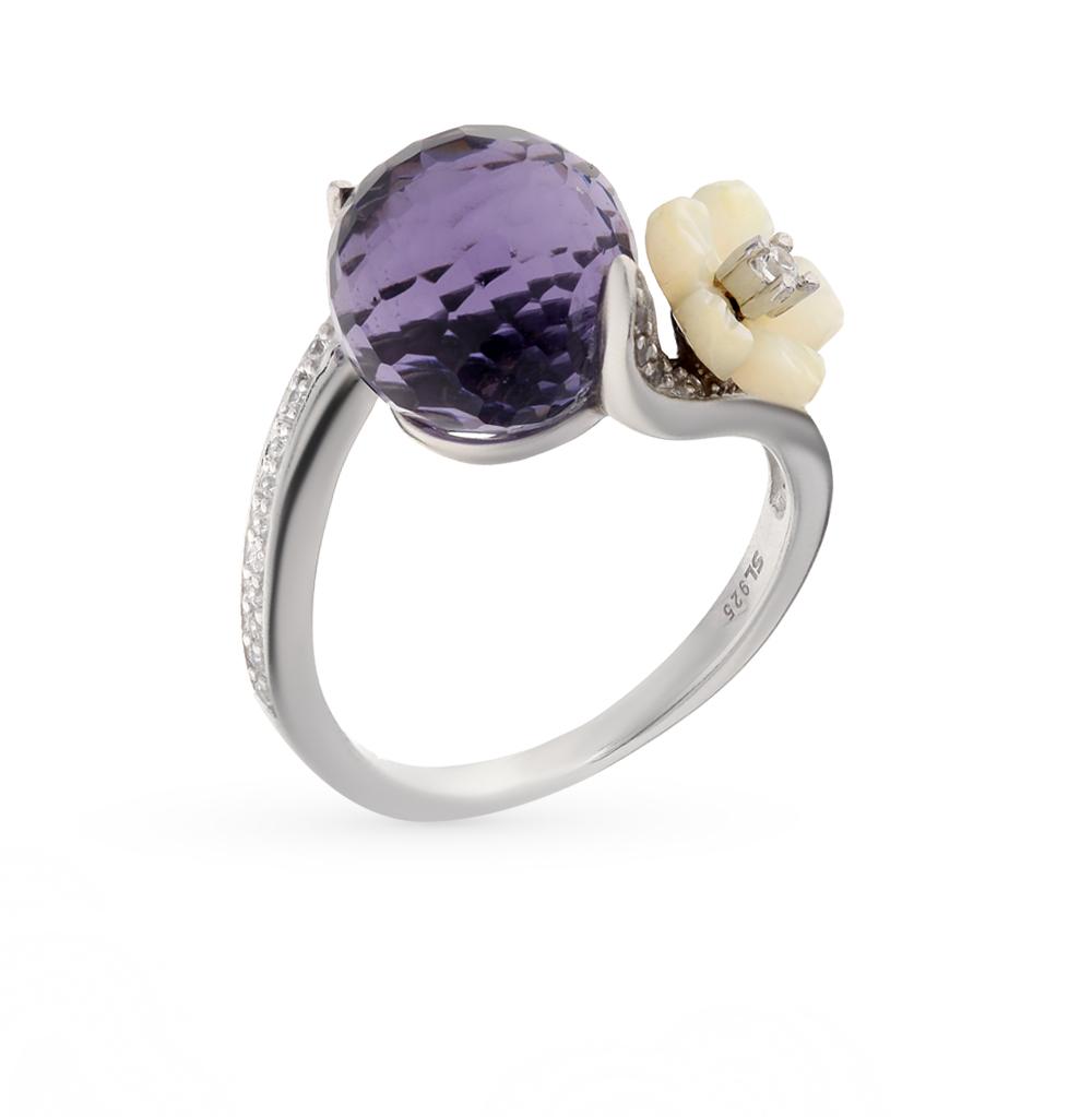 Фото «серебряное кольцо с алпанитом, фианитами, перламутром и аметистами синтетическими»