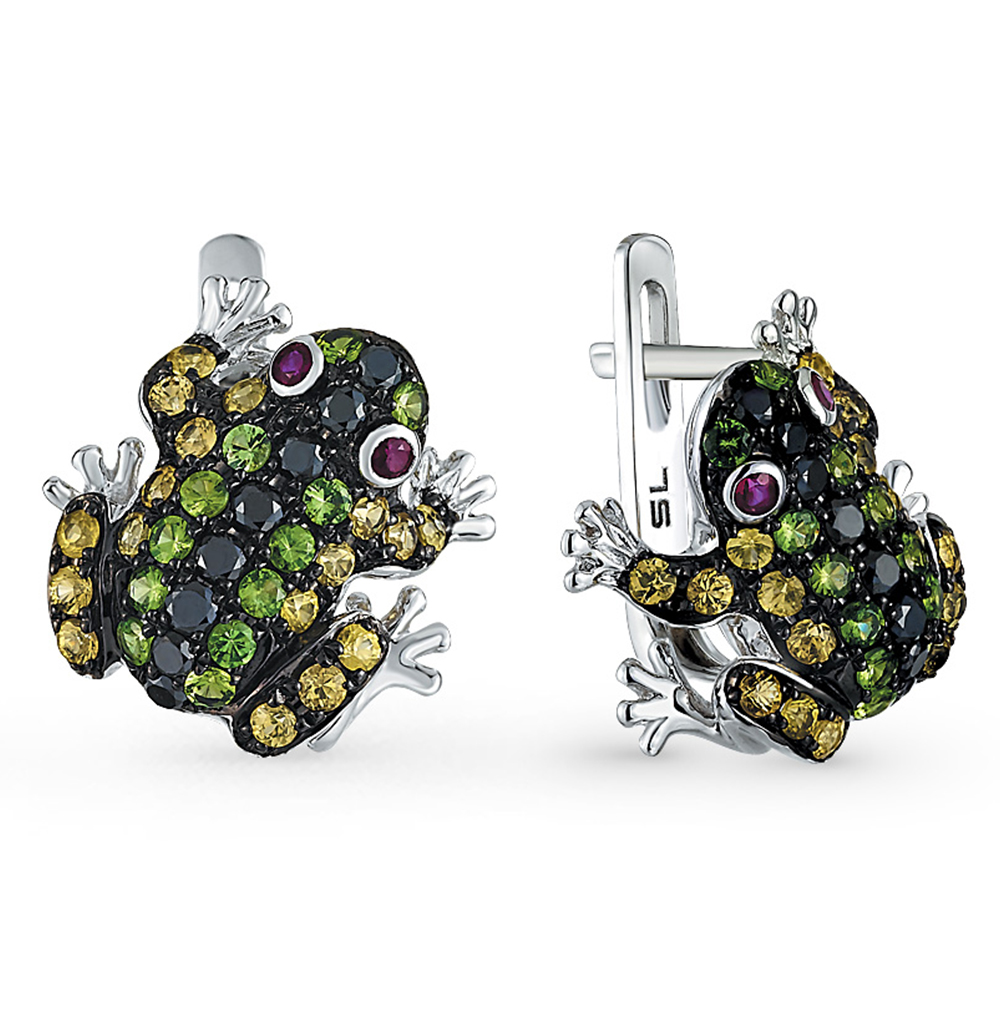 Фото «золотые серьги с чёрными бриллиантами, гранатами, рубинами и сапфирами»