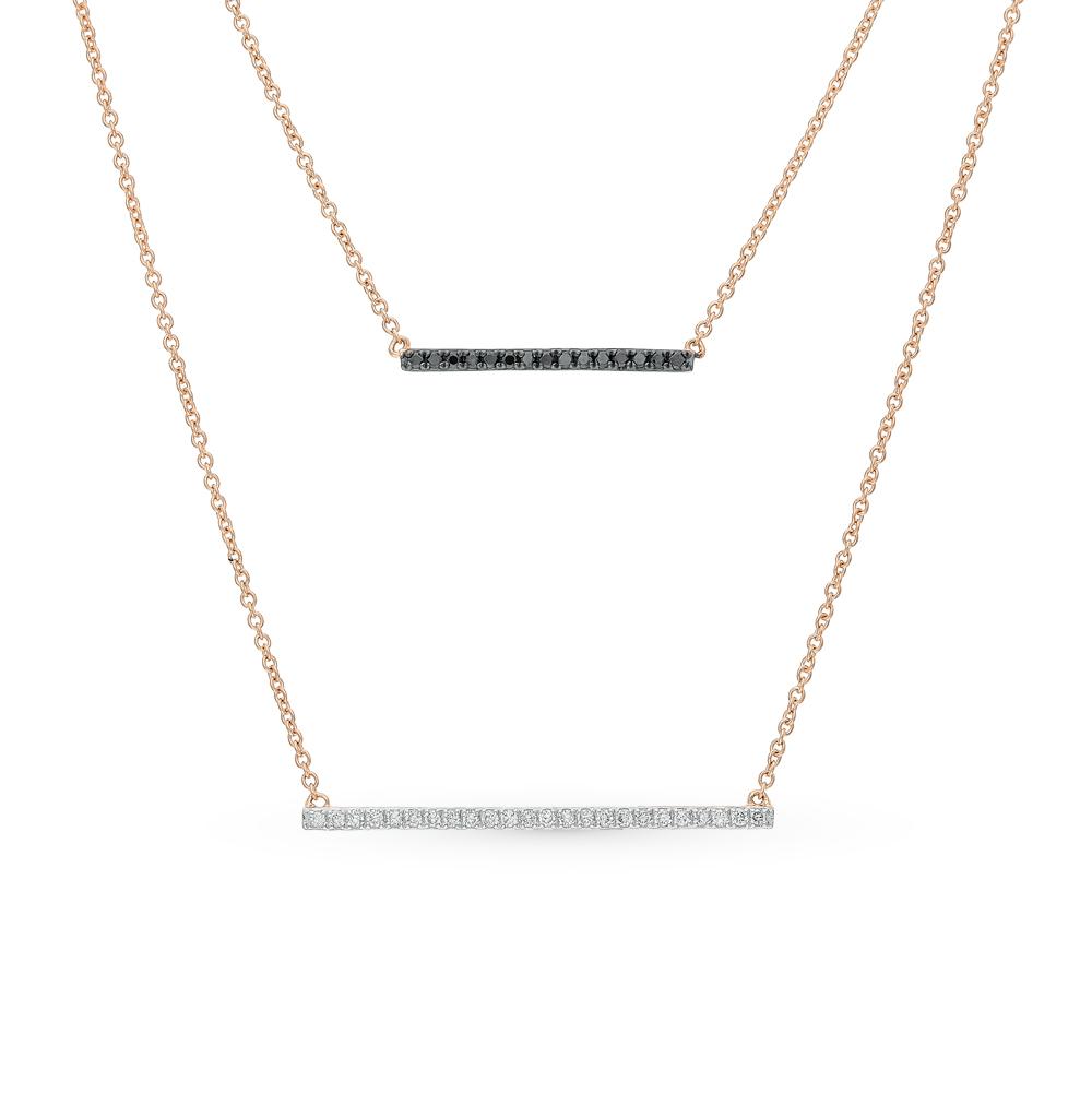 золото шейное украшение с чёрными бриллиантами и бриллиантами SUNLIGHT