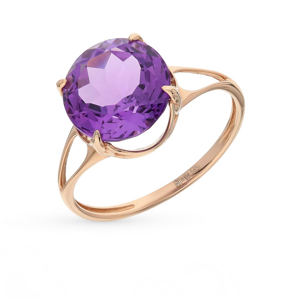 Фото «золотое кольцо с аметистом, топазами и раухтопазами (кварцами дымчатый)»