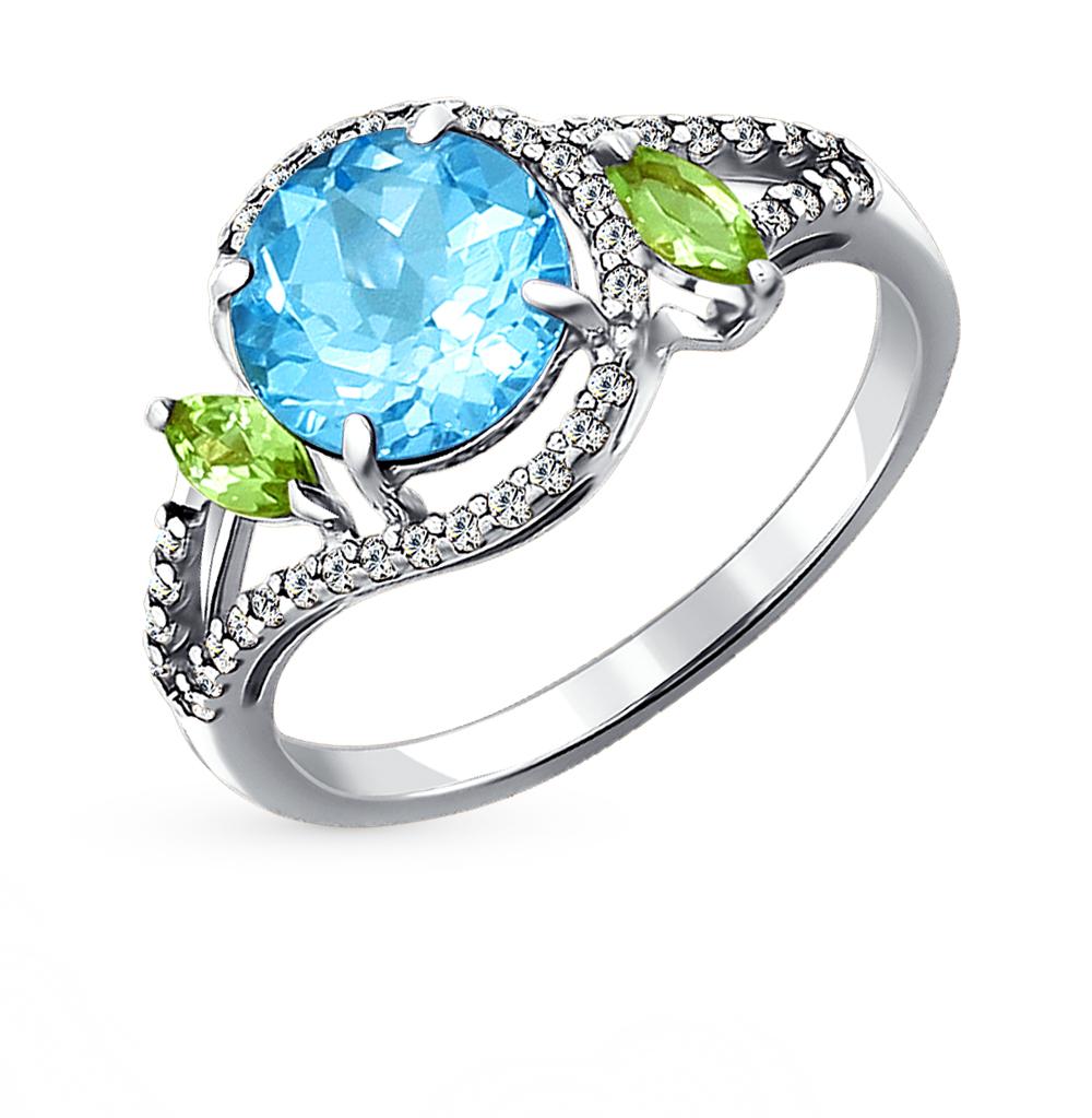 Фото «серебряное кольцо с топазами, фианитами и хризолитами»