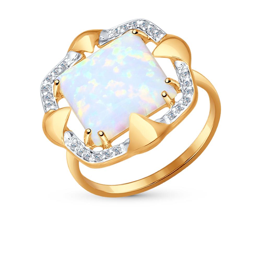 Фото «золотое кольцо с опалами и фианитами»