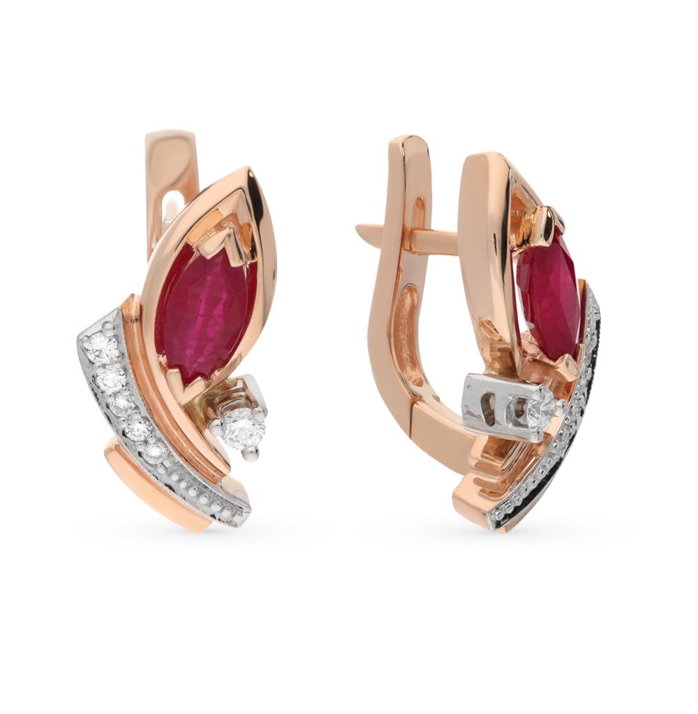 Фото «золотые серьги с бриллиантами и рубинами»