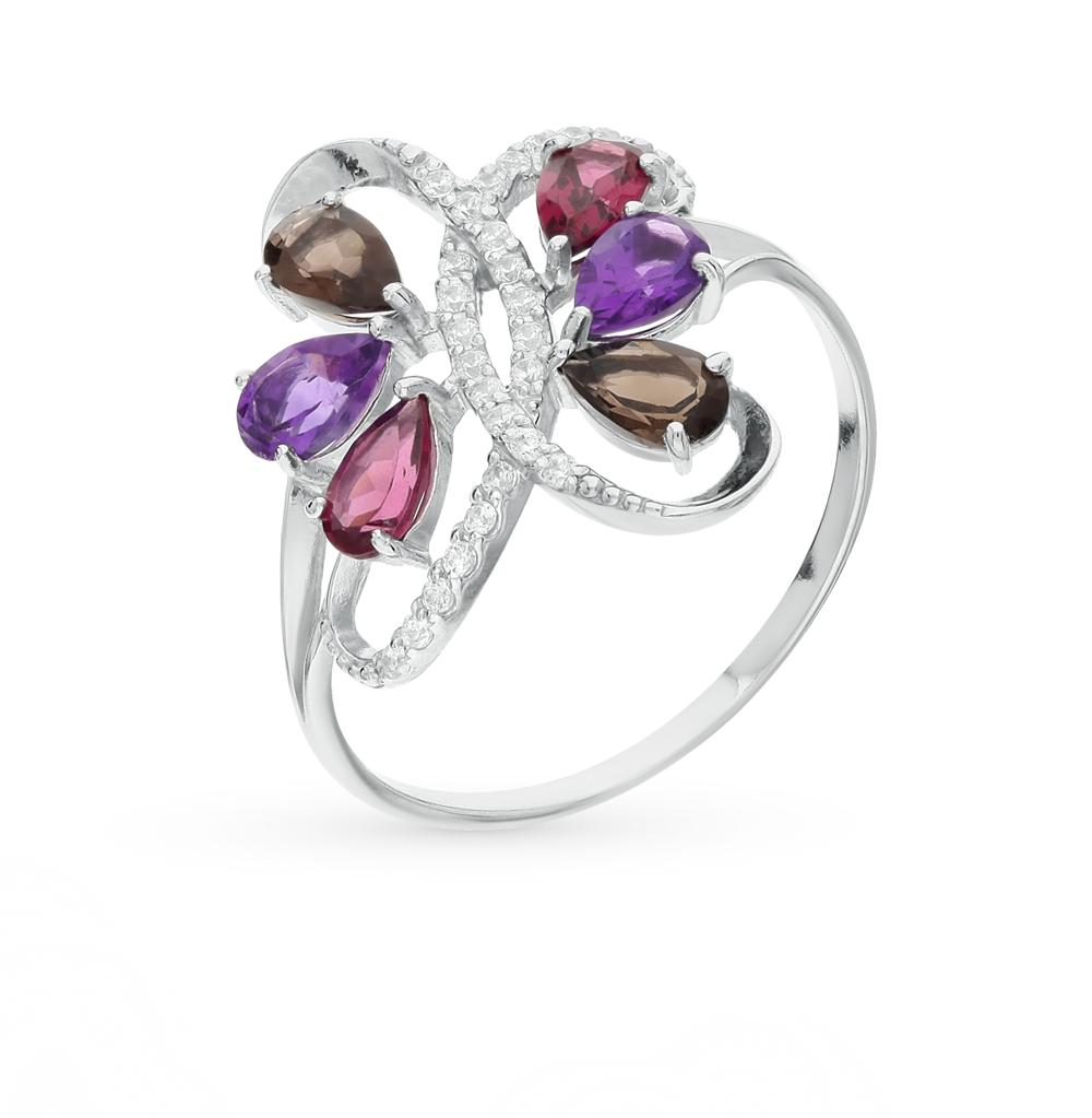 Фото «серебряное кольцо с аметистами, раухтопазами (кварцами дымчатый) и родолитами»