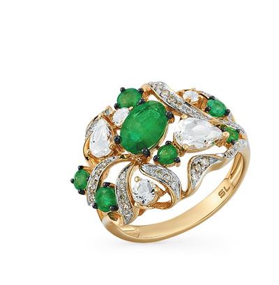 Фото «золотое кольцо с топазами, изумрудами и бриллиантами»