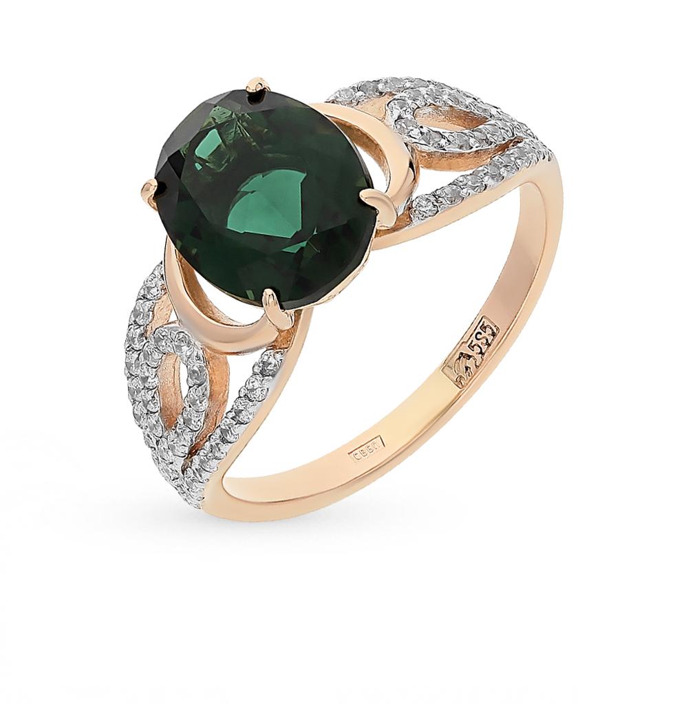 Фото «золотое кольцо с фианитами и турмалинами»