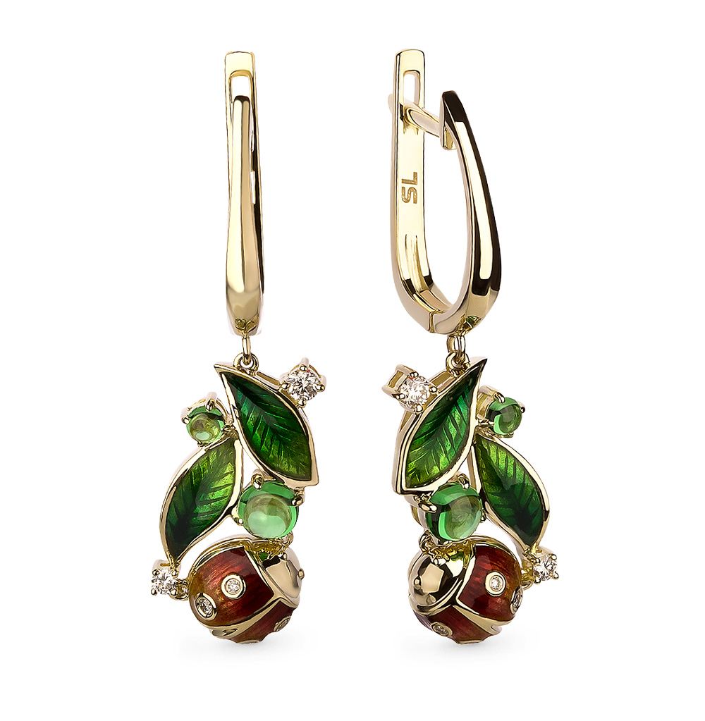 Фото «золотые серьги с бриллиантами, цаворитами и эмалью»