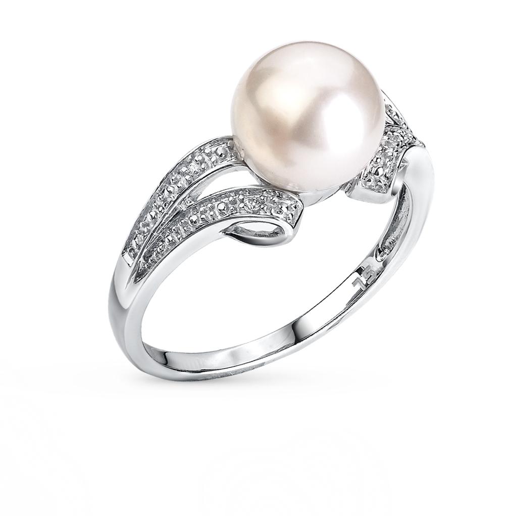 Фото «серебряное кольцо с шпинелями синтетическими, фианитами и жемчугом»