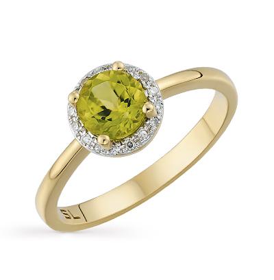 Фото «золотое кольцо с хризолитом и бриллиантами»