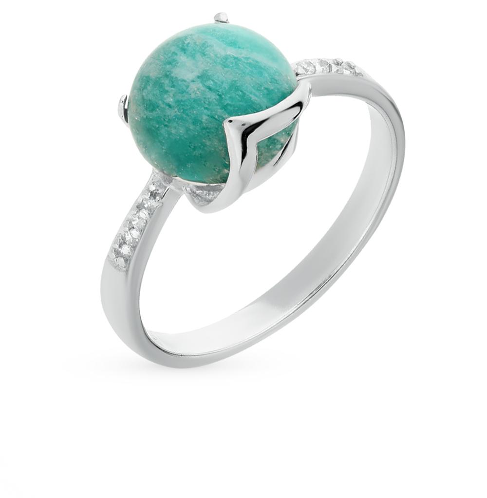 Фото «серебряное кольцо с амазонитами и фианитами»