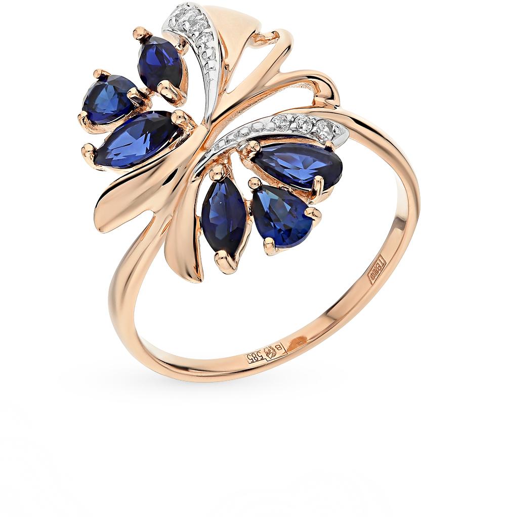 золотое кольцо с фианитами и корундами синтетическими SUNLIGHT