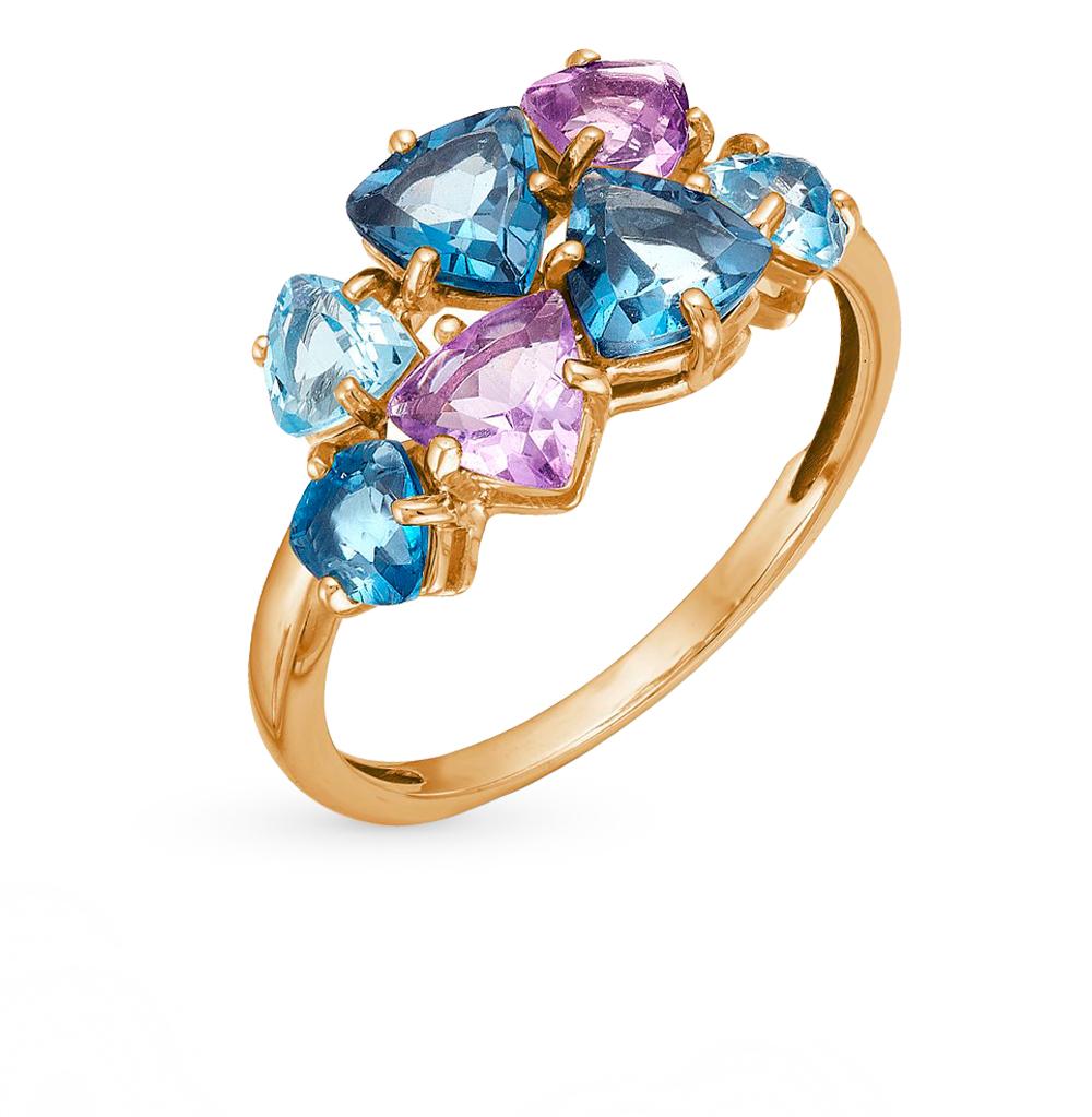 золотое кольцо с аметистами, топазами и хризолитами SUNLIGHT
