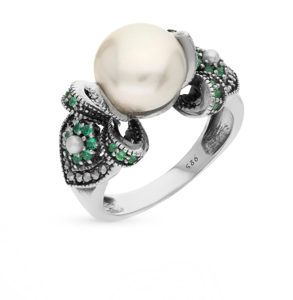 Фото «серебряное кольцо с марказитами, культивированными жемчугом и фианитами»