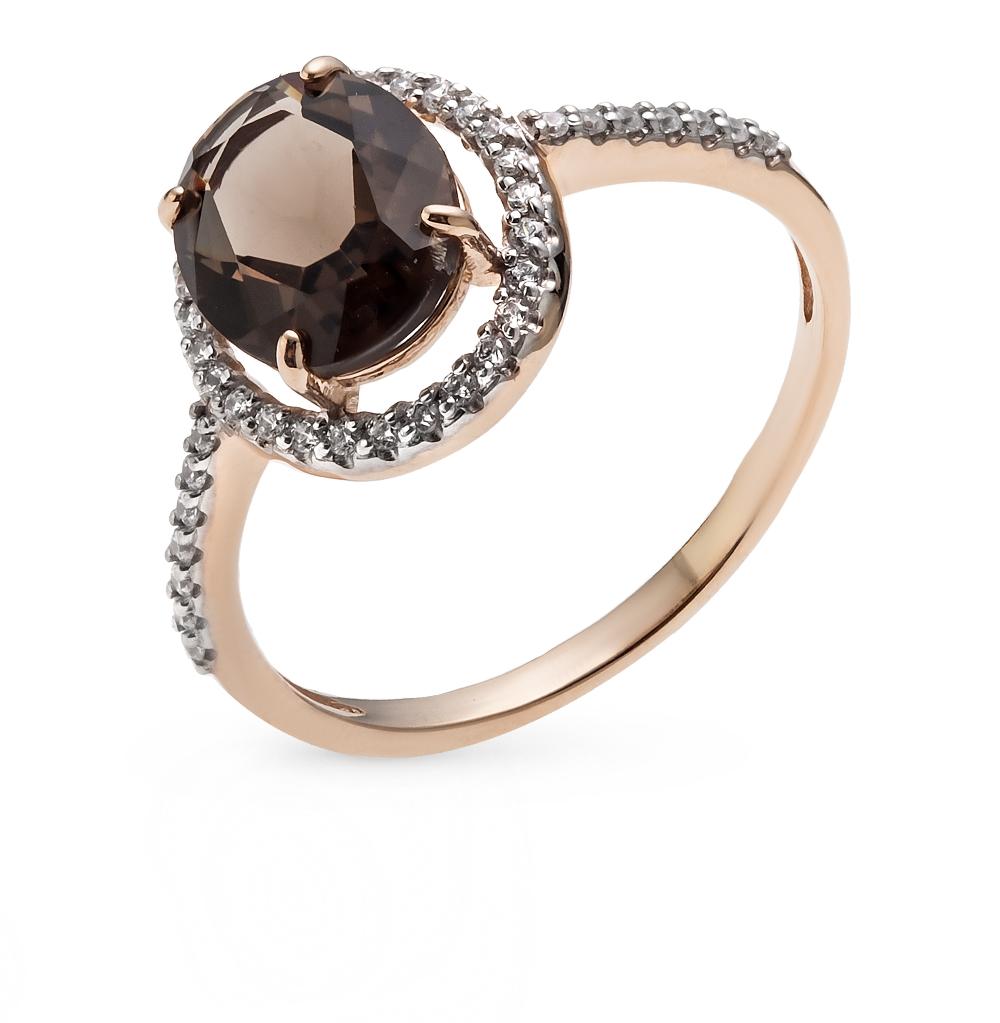 Фото «золотое кольцо с аметистом, топазами, фианитами и раухтопазами (кварцами дымчатый)»