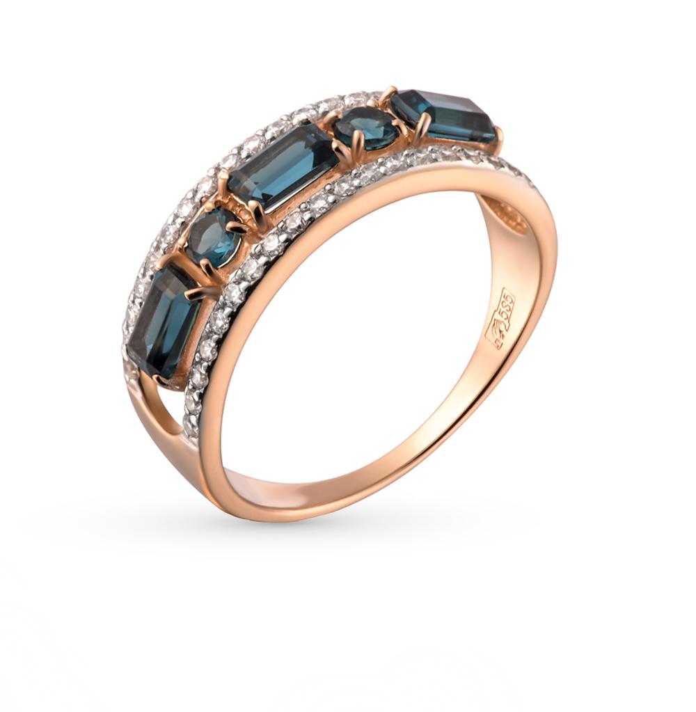 Фото «золотое кольцо с шпинелями и фианитами»