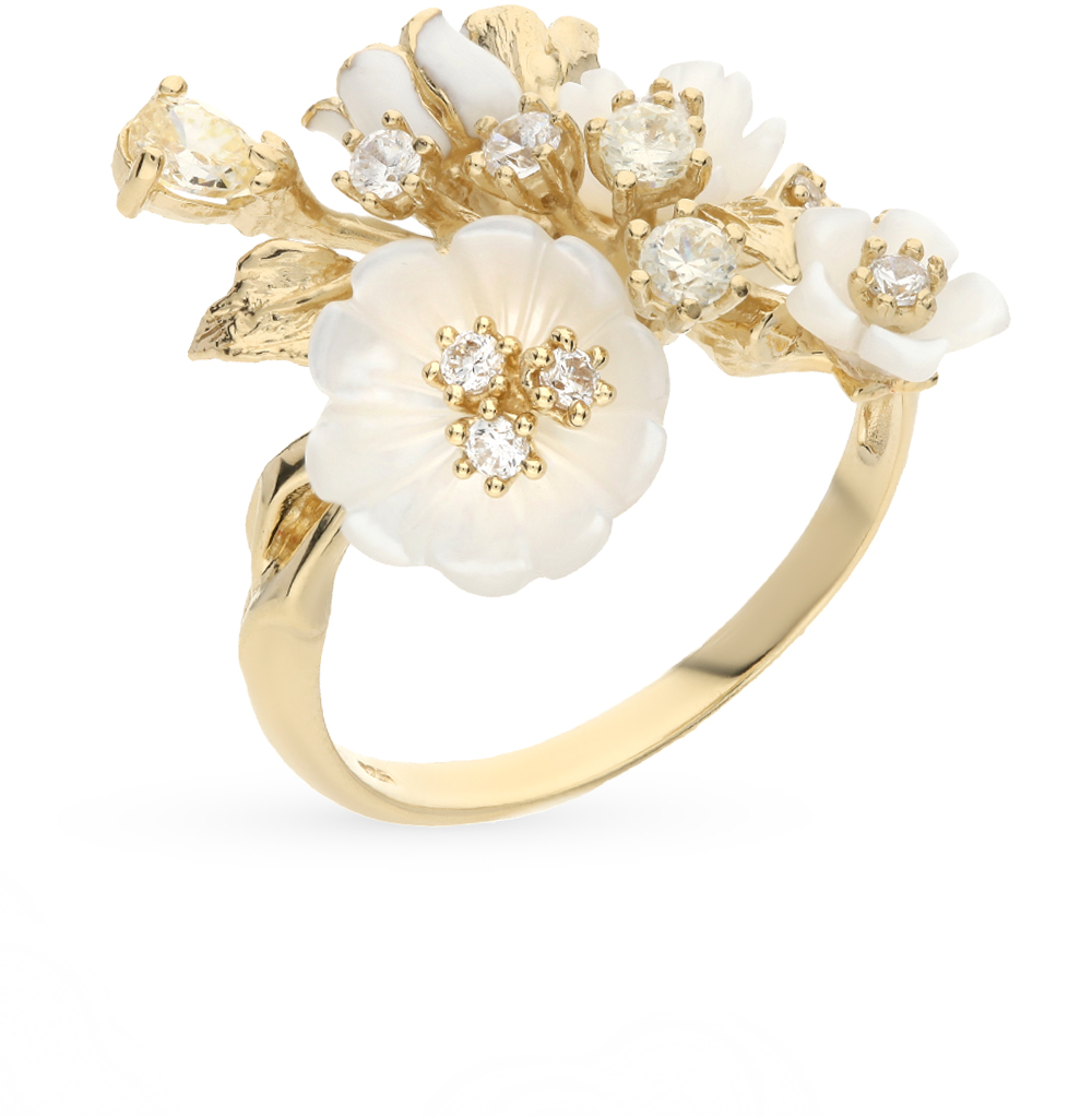 Фото «серебряное кольцо с фианитами, эмалью и перламутром»
