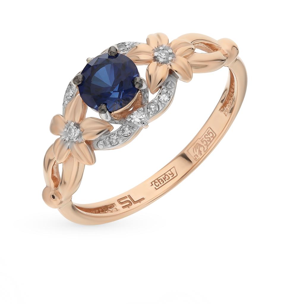 золотое кольцо с сапфирами и бриллиантами SUNLIGHT